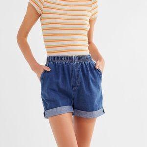 Urban Renewal recycled pull-on cuffed denim shorts